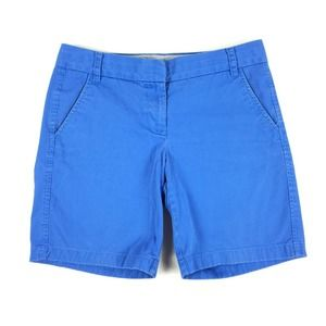 """J.Crew 9"""" Chino Shorts Size 6 Womens Solid Bright Blue Bermuda Modest Casual S"""